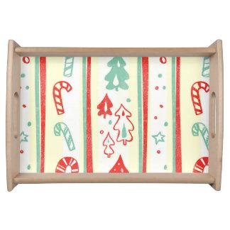 Christmas Tree Candy Cane Stripe Pattern Service Tray