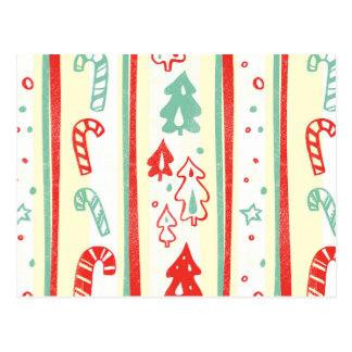 Christmas Tree Candy Cane Stripe Pattern Postcard