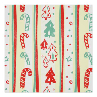Christmas Tree Candy Cane Stripe Pattern Poster