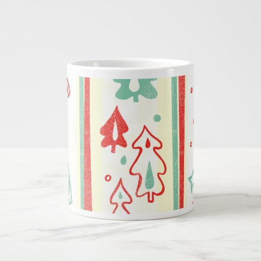 Christmas Tree Candy Cane Stripe Pattern Jumbo Mugs