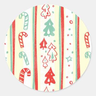 Christmas Tree Candy Cane Stripe Pattern Round Sticker