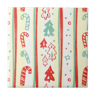 Christmas Tree Candy Cane Stripe Pattern Tile