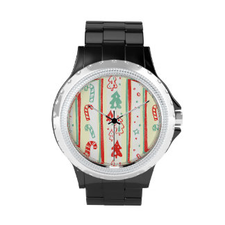 Christmas Tree Candy Cane Stripe Pattern Watches