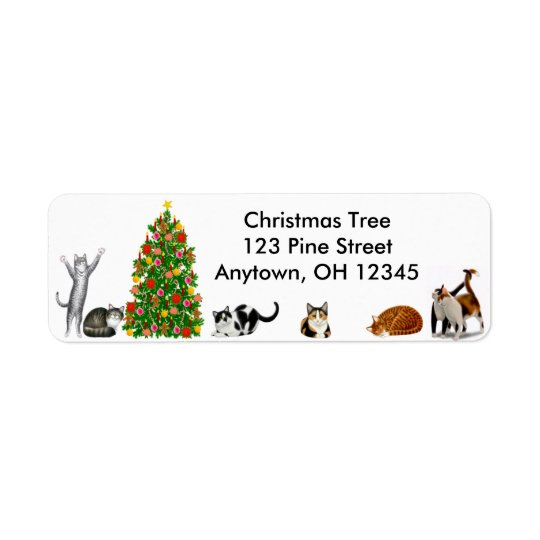 Christmas Tree Cats Label