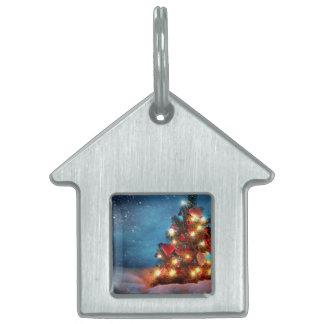 Christmas tree - Christmas decorations -Snowflakes Pet ID Tag