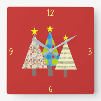 Christmas Tree Colorful Bright Ornamented for Kids Square Wall Clock