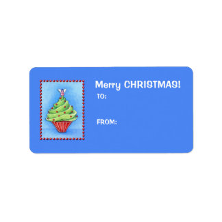 Christmas Tree Cupcake blue Gift Tag Label Address Label