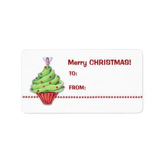 Christmas Tree Cupcake Gift Tag Label Address Label