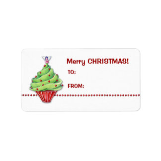 Christmas Tree Cupcake Gift Tag Label Address Label
