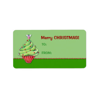 Christmas Tree Cupcake green Gift Tag Label Address Label