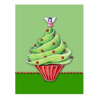 Christmas Tree Cupcake green Postcard