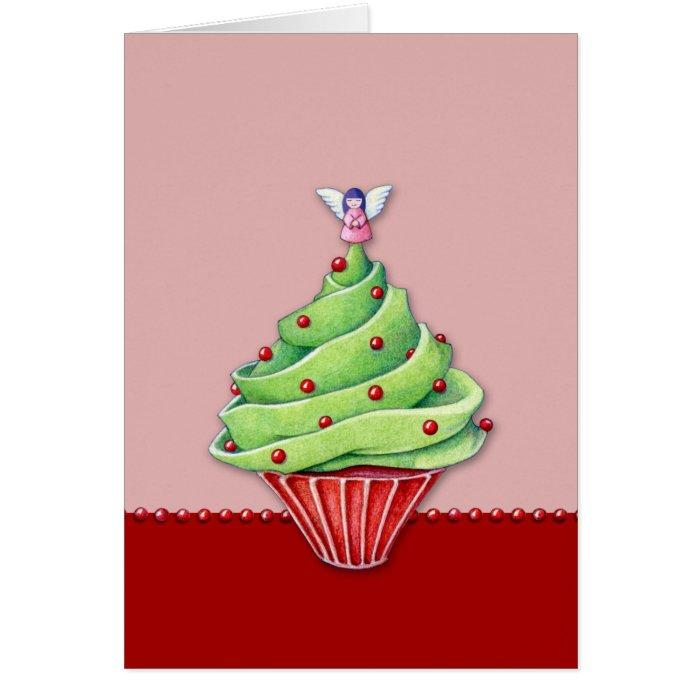 Christmas Tree Cupcake red2 Card