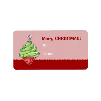 Christmas Tree Cupcake red2 Gift Tag Label Address Label