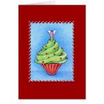 Christmas Tree Cupcake red Card