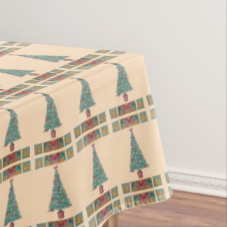 Christmas tree decorations red bows art design tablecloth