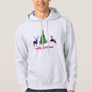 Christmas tree deers merry christmas men's hoodie