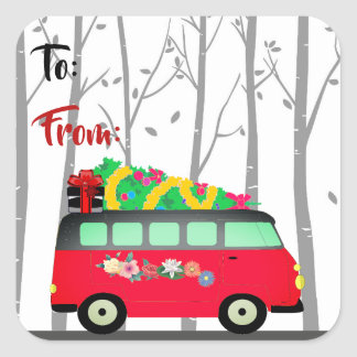 Christmas Tree Delivery Van Gift Tag Stickers