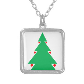Christmas Tree Design 8.5 by 8.5 October 21 2017.g Silver Plated Necklace