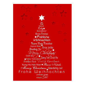 Christmas Tree Different Languages Postcard