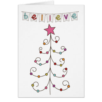 christmas tree doodle greeting card