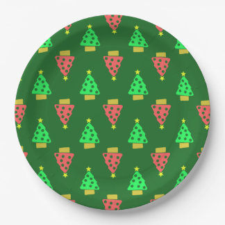 Christmas Tree Doodle Patterned Green 9 Inch Paper Plate