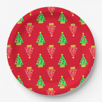 Christmas Tree Doodle Patterned Red 9 Inch Paper Plate