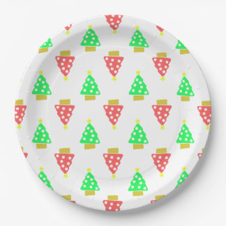 Christmas Tree Doodle Patterned White 9 Inch Paper Plate