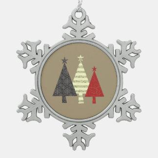 Christmas Tree Elegant Artistic Geometric Stylish Snowflake Pewter Christmas Ornament