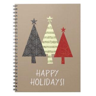Christmas Tree Elegant Stylish Pattern Minimal Spiral Notebook