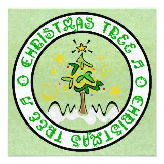Christmas Tree Flat Greeting Card 13 Cm X 13 Cm Square Invitation Card