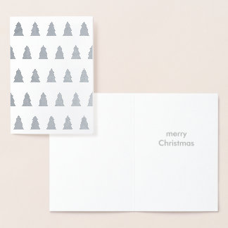 Christmas Tree Forest Silver Foil Merry White Foil Card