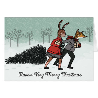 Christmas Tree - Fox and Bunny Bring Home the Tree Cards
