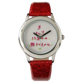 Christmas Tree full of Cheerful Red Birds Wrist Watch