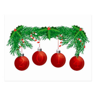 Christmas Tree Garland with 2014 Ornaments Card Postcard