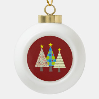 Christmas Tree Geometric Ornate Elegant Stylish Ceramic Ball Christmas Ornament