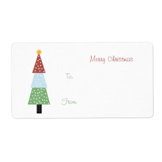 Christmas Tree Gift Tag Shipping Label
