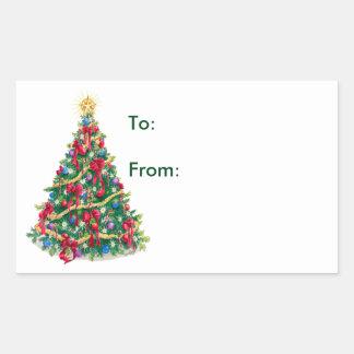 Christmas Tree - Gift Tags Rectangular Sticker
