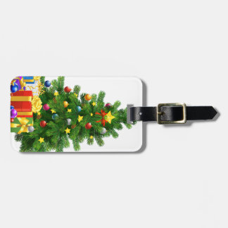 Christmas Tree Gifts Luggage Tag w/ leather strap