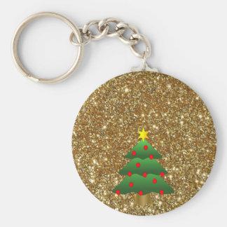 Christmas Tree gold Glitter Keychain