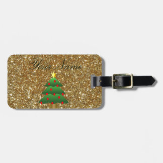 Christmas Tree gold Glitter Tag For Luggage