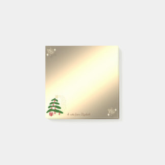 Christmas Tree, Gold Snowflakes-Personalized Post-it Notes