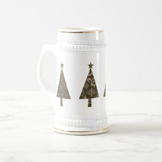 Christmas Tree Golden White Stylish Classy Elegant Beer Stein
