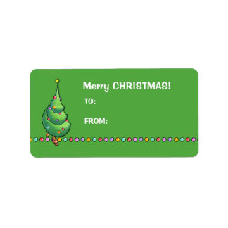 Christmas Tree green2 Gift Tag Label Address Label