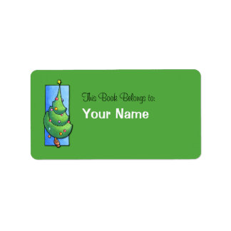 Christmas Tree green Bookplate Label Address Label