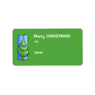 Christmas Tree green Gift Tag Label Address Label