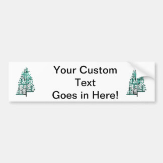Christmas tree green of shapes mottled blue png bumper sticker