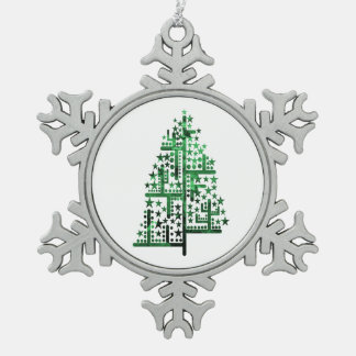 Christmas tree green of shapes mottled.png pewter snowflake decoration