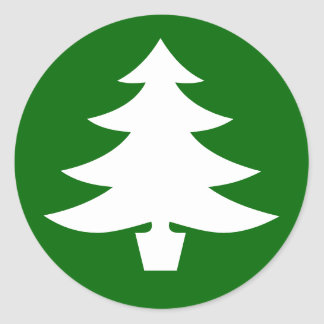 Christmas Tree, green Round Sticker