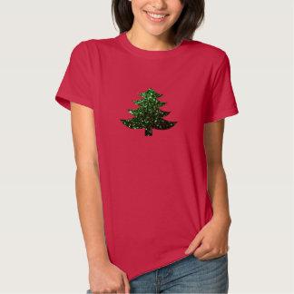 Christmas tree green sparkles tee shirt