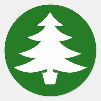 Christmas Tree, green Round Sticker